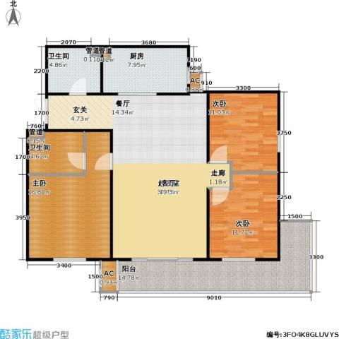 方南家园(二期)3室0厅2卫1厨141.00㎡户型图