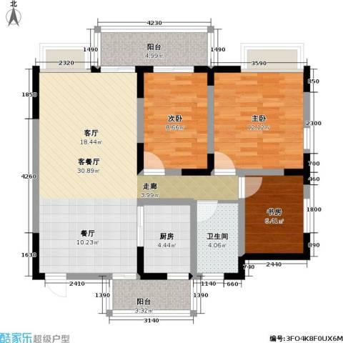 朵力名都(三期)3室1厅1卫1厨84.00㎡户型图
