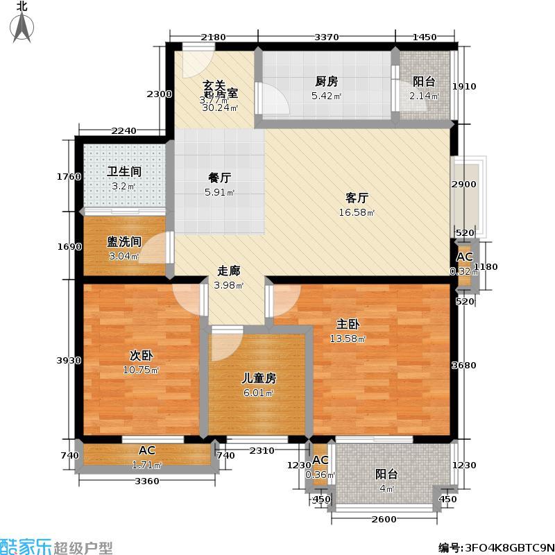 云景里小区3室2厅1卫户型LL
