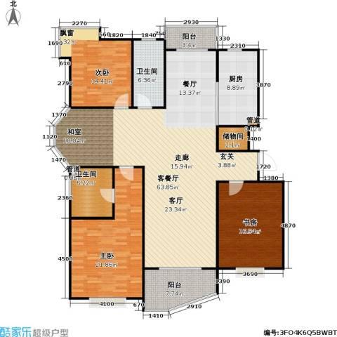 金月湾小区3室1厅2卫1厨202.00㎡户型图