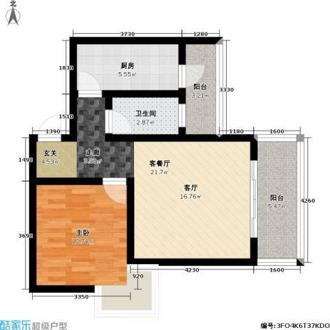 假日滨江花园(二期)1室1厅1卫1厨58.89㎡户型图