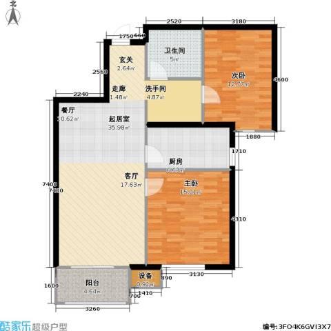 万科魅力之城尊域2室0厅1卫1厨88.00㎡户型图