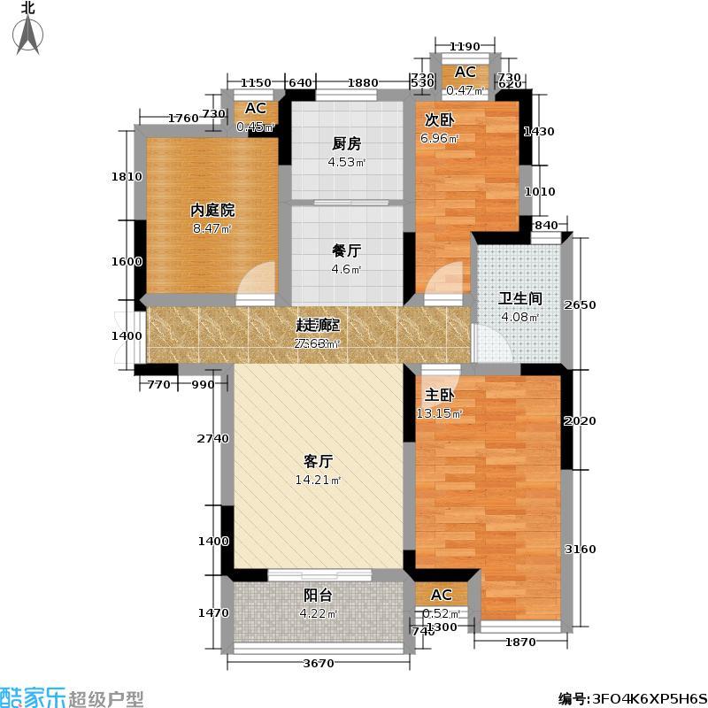 景怡苑三房两厅一卫86.96平米户型