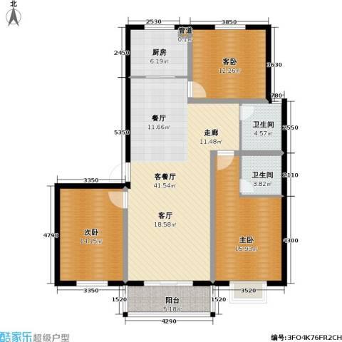 玉泉华庭3室1厅2卫1厨135.00㎡户型图