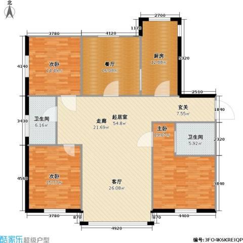 紫晶南园二期3室1厅2卫1厨195.00㎡户型图