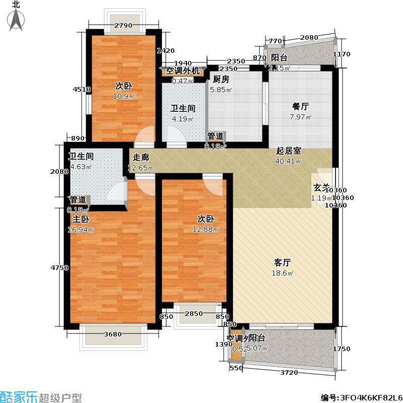 万科城市花园三期房型: 三房; 面积段: 124 -144 平方米; 户型