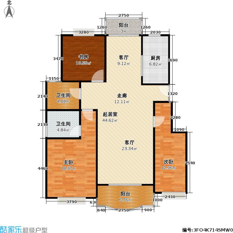 松江世纪新城121.00㎡房型: 三房; 面积段: 121 -126.18 平方米; 户型