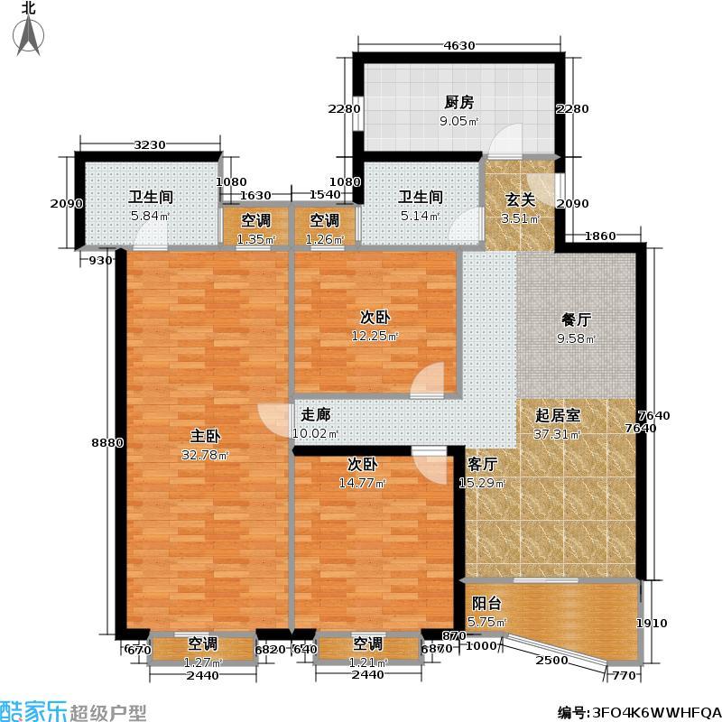 颐德名苑124.87㎡房型: 三房; 面积段: 124.87 -158.2 平方米;户型