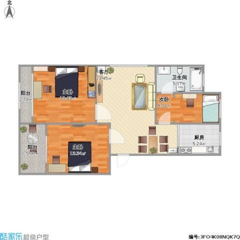 金世湾3室1厅1卫1厨106.00㎡户型图