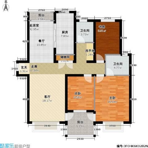 万兆家园五期3室0厅2卫1厨118.00㎡户型图