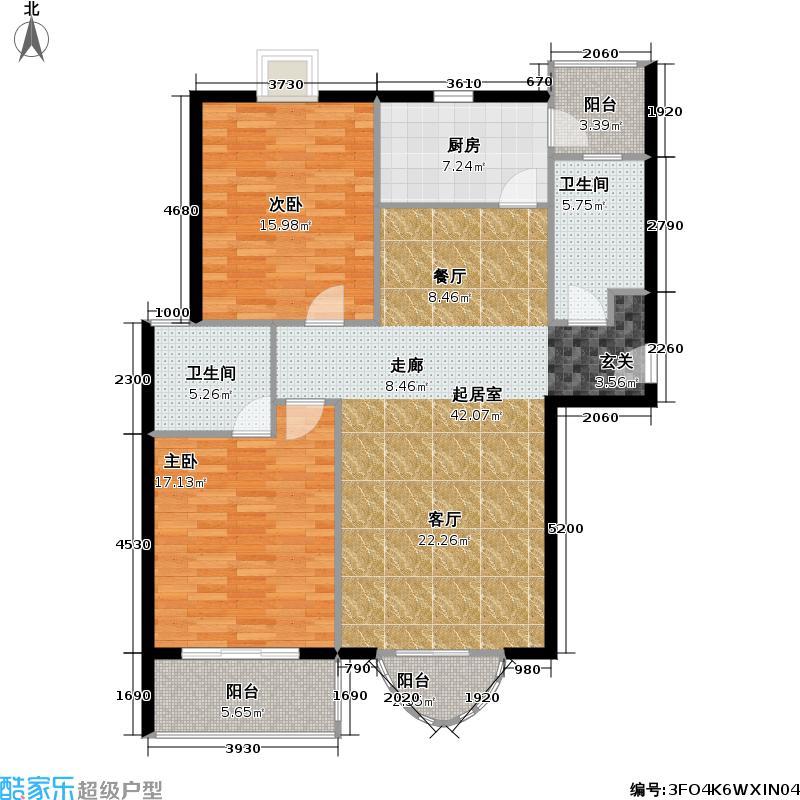 瑞嘉苑二期房型户型2室2卫1厨