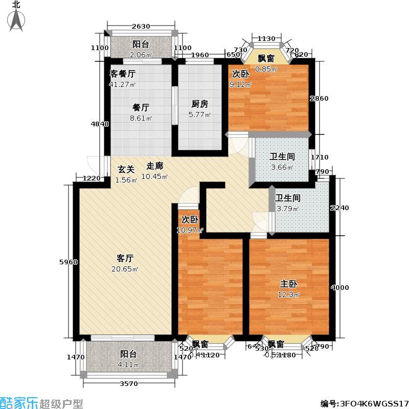 明丰绿都房型: 三房; 面积段: 106 -138 平方米; 户型