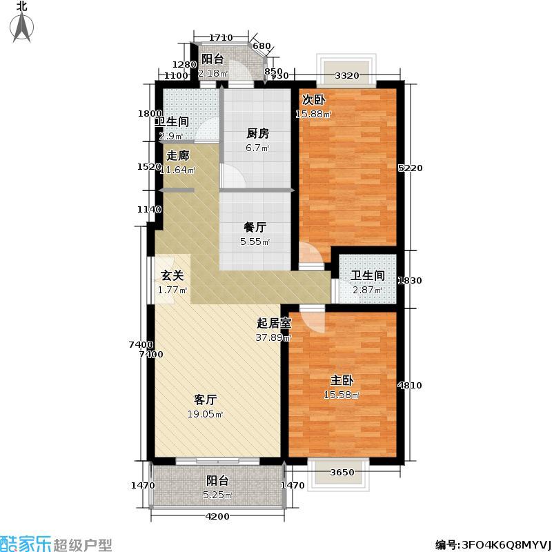 花园村雅苑111.17㎡房型: 二房; 面积段: 111.17 -117.46 平方米;户型
