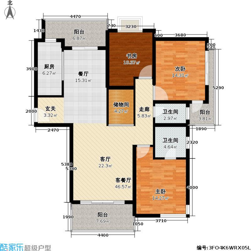 养生豪庭房型: 三房; 面积段: 127 -138 平方米; 户型