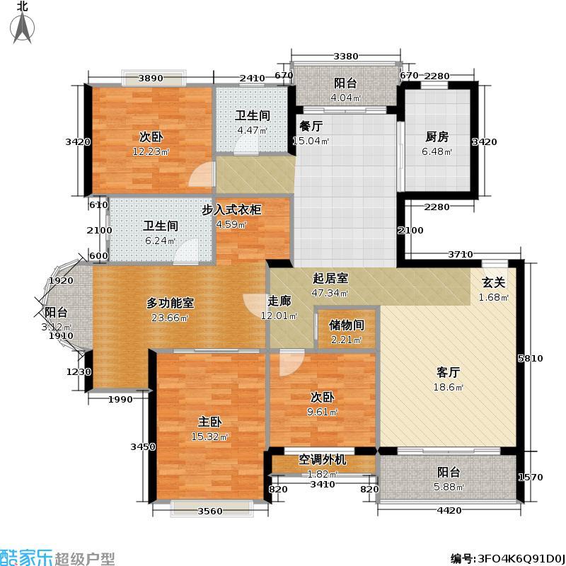 景博新园一期154.00㎡房型: 四房; 面积段: 154 -165 平方米; 户型
