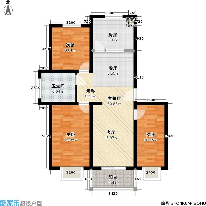 福基国际花园二期户型3室1厅1卫1厨
