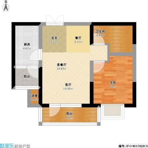 保利达江湾城1室1厅1卫1厨66.00㎡户型图