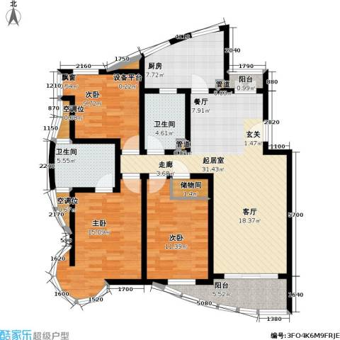 城投世纪名城三期3室0厅2卫1厨113.00㎡户型图