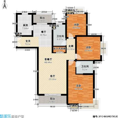 世纪飞凡二期3室1厅2卫1厨139.00㎡户型图