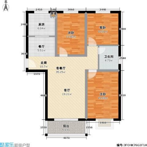 玉泉华庭3室1厅1卫1厨111.00㎡户型图