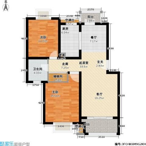 城投世纪名城三期2室0厅1卫1厨92.00㎡户型图
