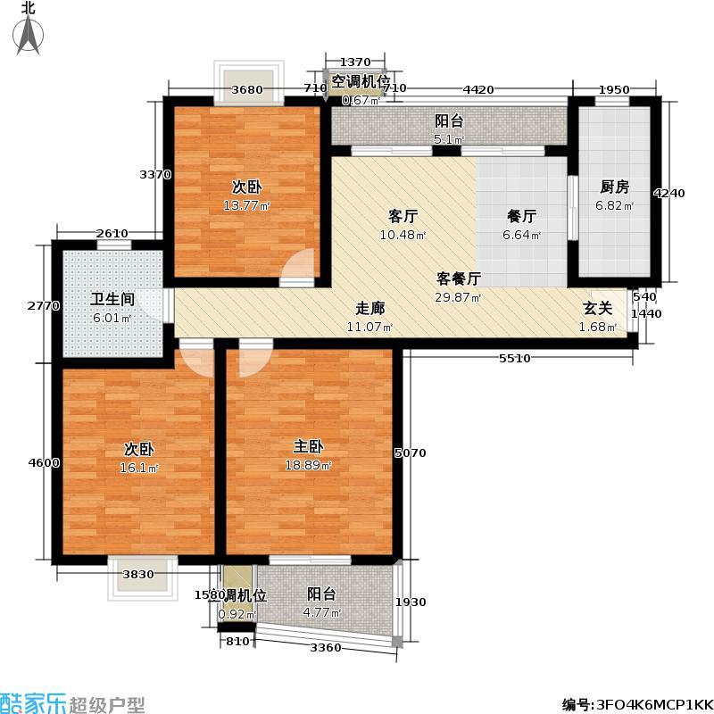 现代律感-乾清苑117.00㎡117平米3房2厅2卫南北通户型