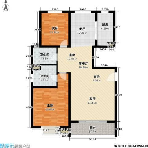 世纪飞凡二期2室1厅2卫1厨116.00㎡户型图