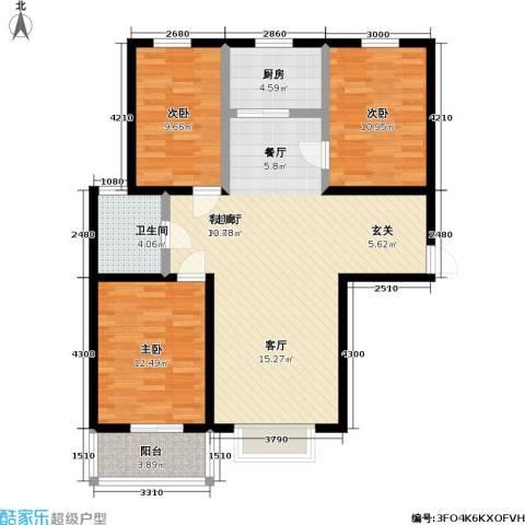 逸格3室1厅1卫1厨119.00㎡户型图