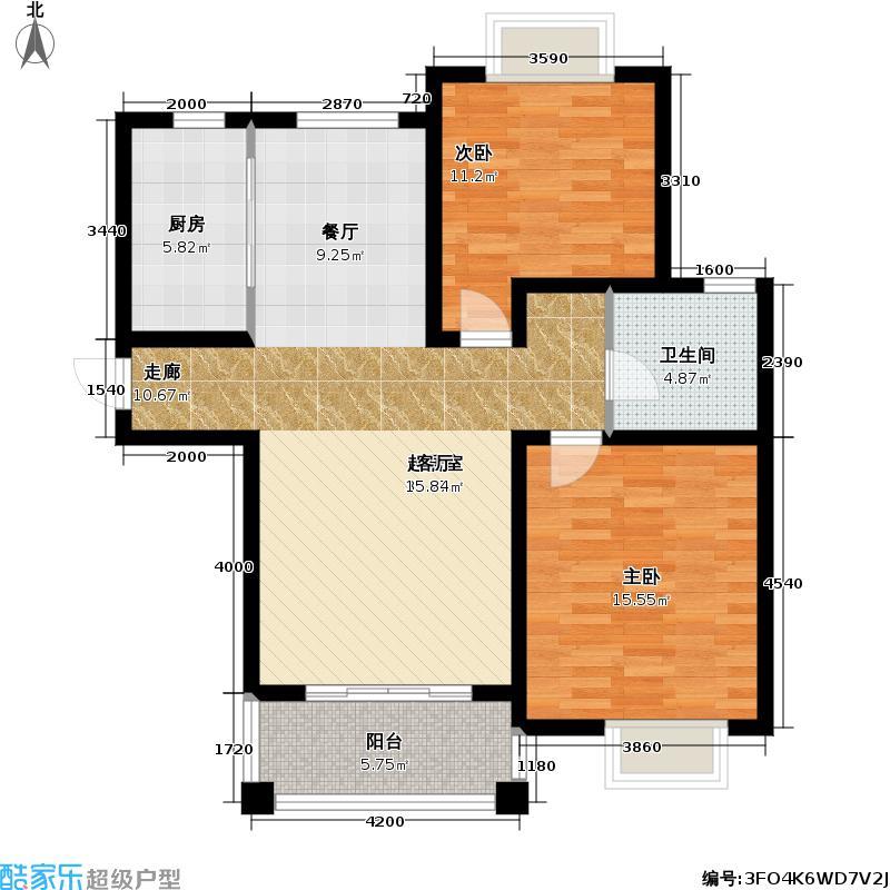 志成花苑三期房型: 二房; 面积段: 90 -97 平方米; 户型