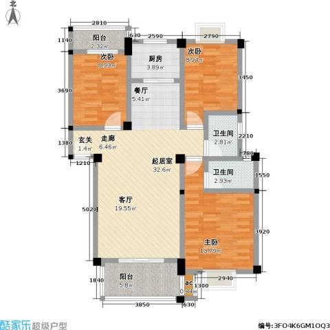 桃花岛城市花园(三期)3室0厅2卫1厨98.00㎡户型图