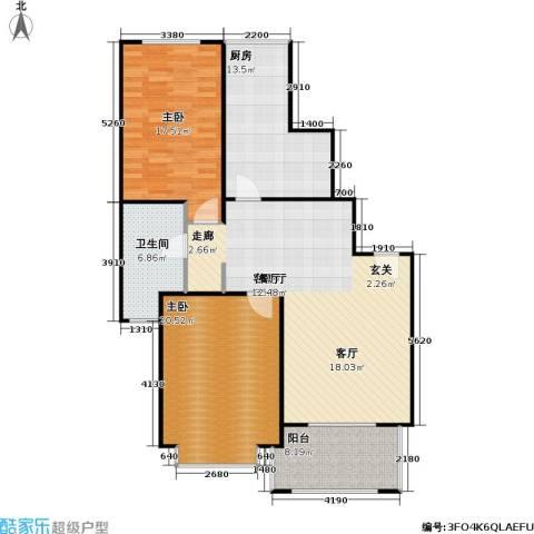 长宁馥邦苑2室1厅1卫1厨107.00㎡户型图