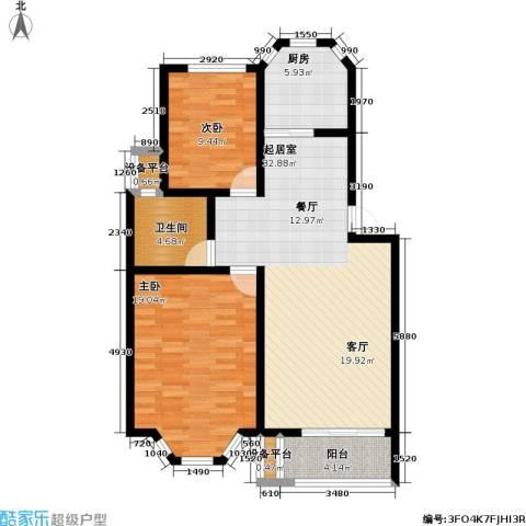 丰润港岛花园2室0厅1卫1厨89.00㎡户型图
