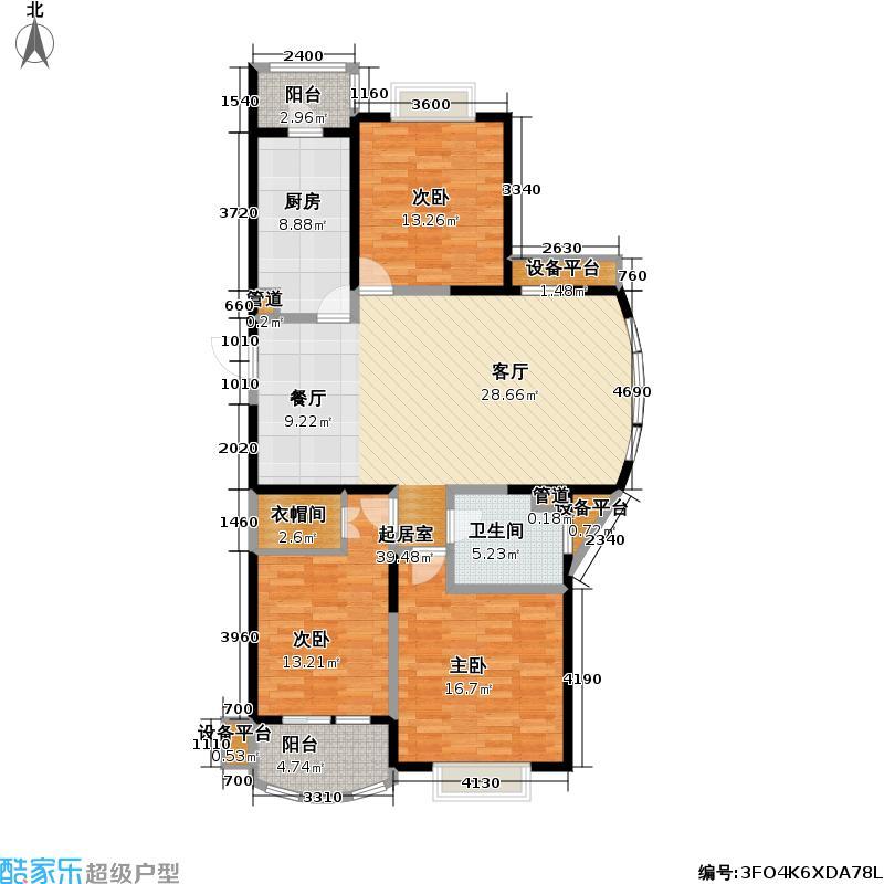 新湖明珠城一期三房二厅一卫,建筑面积约:124㎡户型