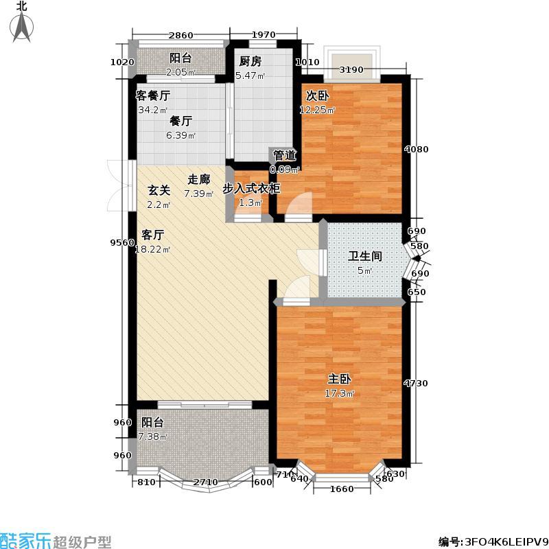 东苑半岛花园一期94.27㎡房型: 二房; 面积段: 94.27 -104 平方米; 户型