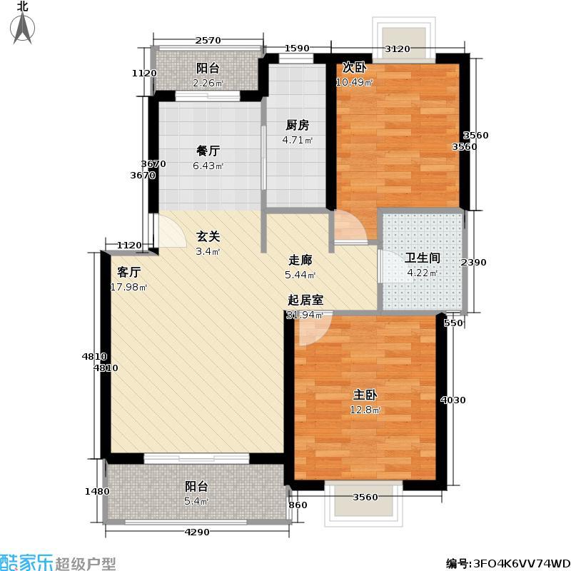 多摩园景三期82.78㎡房型: 二房; 面积段: 82.78 -98.78 平方米;户型