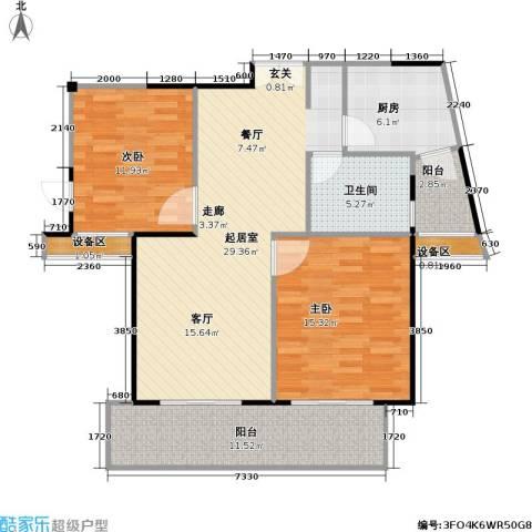 南方城二期2室0厅1卫1厨90.00㎡户型图
