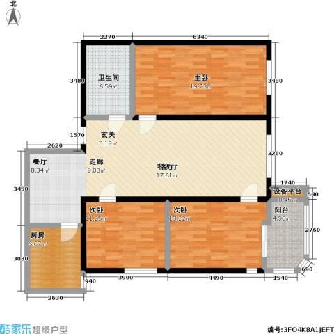 健翔园3室1厅1卫1厨115.00㎡户型图