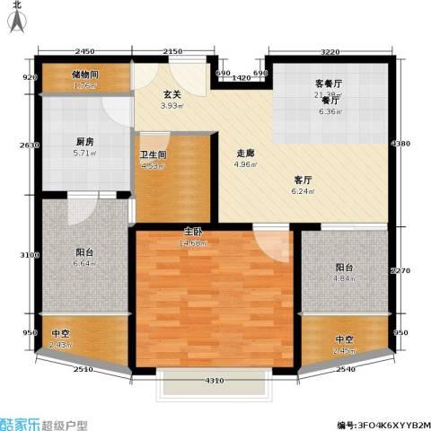 九亭明珠苑三期1室1厅1卫1厨71.00㎡户型图
