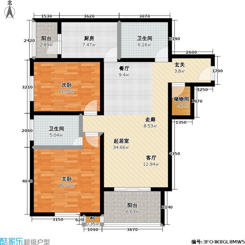 平安苑110.86㎡2室2厅2卫1厨-110.86㎡户型