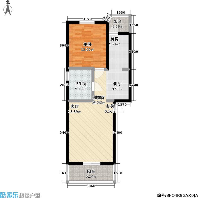 怡静园63.19㎡一室两厅一卫户型
