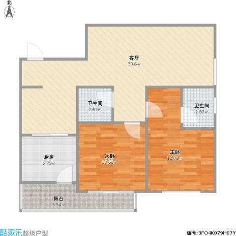 高科广场D座2室1厅2卫1厨96.00㎡户型图