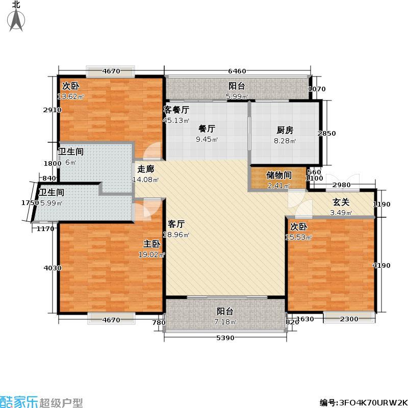 联洋丁香苑140.76㎡房型: 三房; 面积段: 140.76 -162.62 平方米; 户型