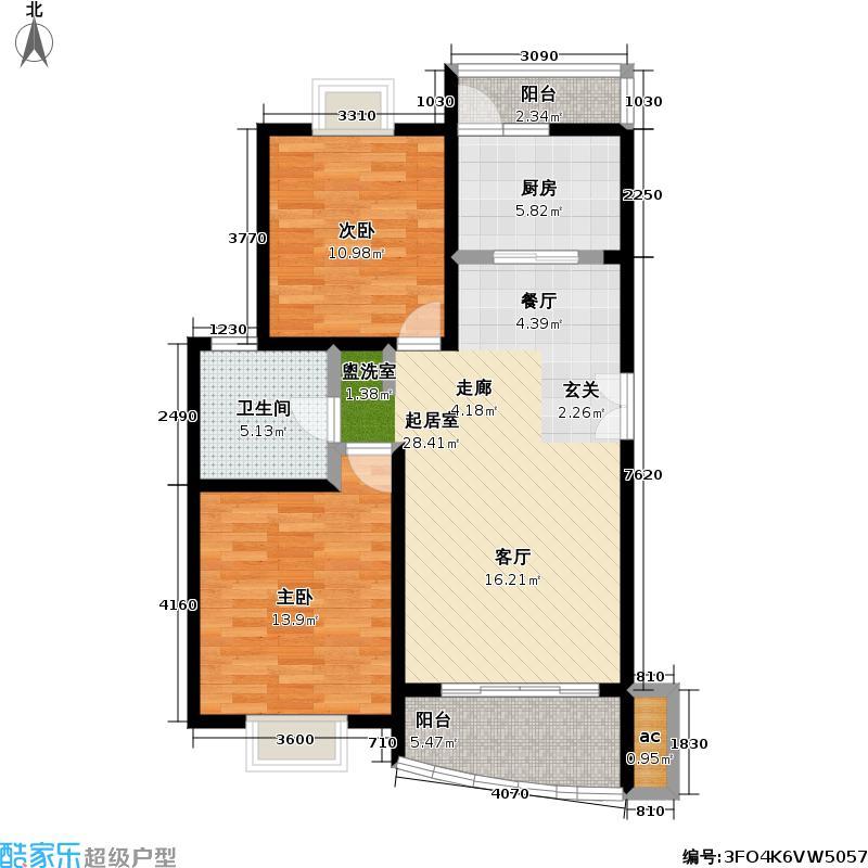 远景时代苑74.00㎡房型: 二房; 面积段: 74 -95 平方米;户型