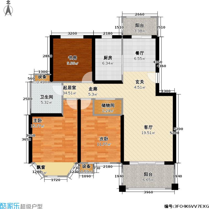宝地绿洲城三期107.00㎡房型: 三房; 面积段: 107 -132 平方米;户型