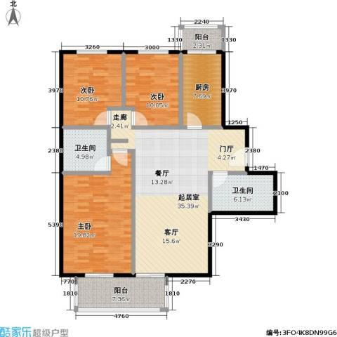 水岸长桥(长安星园)3室0厅2卫1厨118.00㎡户型图