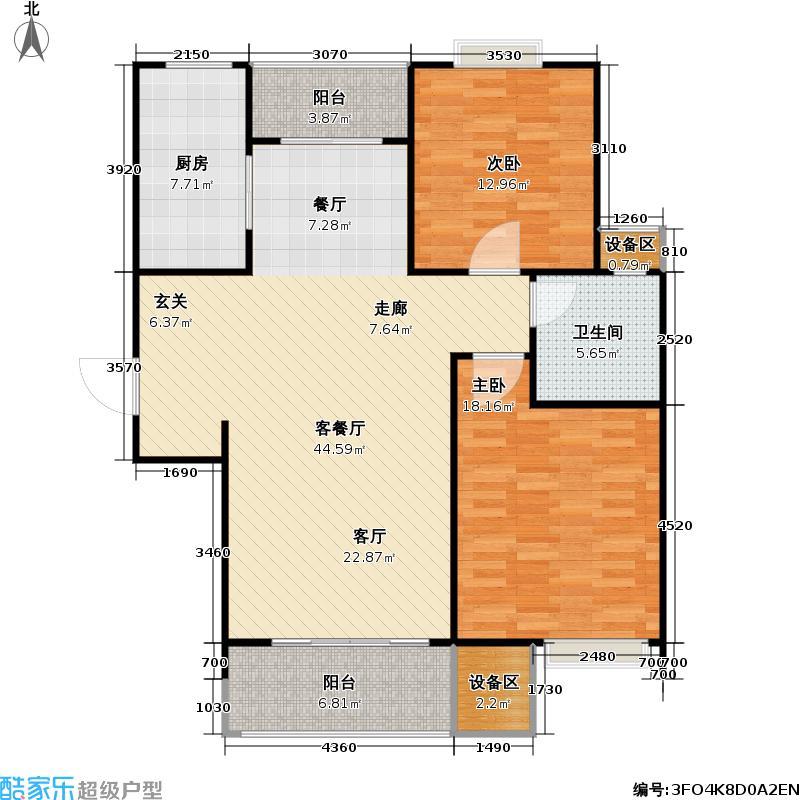 经纬城市绿洲110.00㎡110平米D3户型2室2厅1卫
