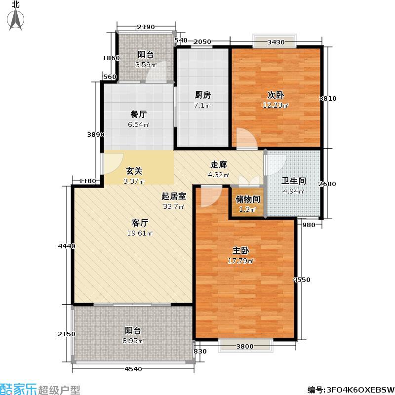 一品新筑二期房型户型2室1卫1厨