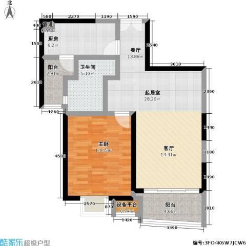 慧芝湖花园(一期)1室0厅1卫1厨70.00㎡户型图