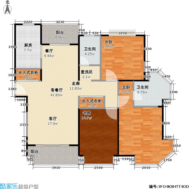 经纬城市绿洲三房二厅二卫,面积约134平方米户型