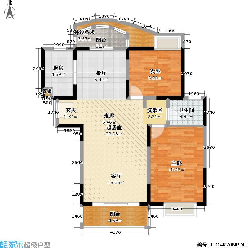 东方中华园100.00㎡房型: 二房; 面积段: 100 -105 平方米; 户型